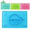 2017 New Silicone Plate and Bowl Set Unbreakable Kids Dinnerware Baby Placemat One Piece Silicon Placemat+Plate Wholesale