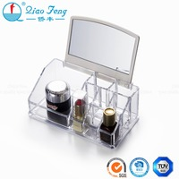 Convenient acrylic lipstick holder makeup display organizer with mirror