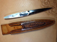 large mother of pearl knife handle inlay