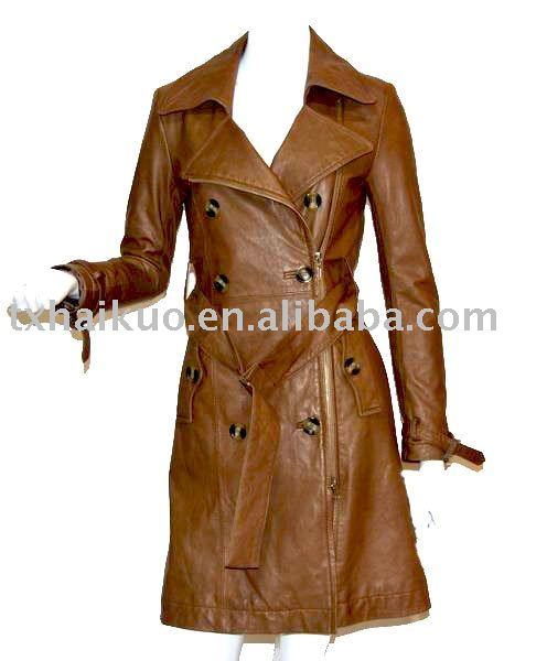 Ladies double breasted lamb leather windbreak long coat with waistband