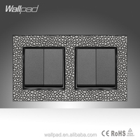 Furniture Hotel Luxury Wallpad Leather Frame 16A UK Standard Four Gang Two Way on/off Switch Power Supply