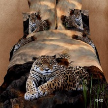 TINGYU King Size 3D Leopard Printing Bedding Set 100% Cotton Animal Photo Printing Bed Sheet Set