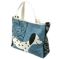 cute dog full color print ladies young women's 100% cotton canvas beach tote bags