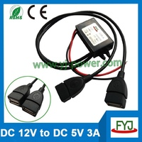 DC DC Converter DC 12V To 5V 3A usb Car charger, 5v USB Power Adapter