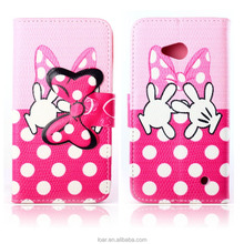 Girls Like Lovely Pink Polka Dot For Nokia Lumia 640 Leather Phone Flip Case