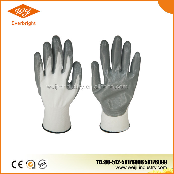 13G Nylon Polyseter liner, Nitrile Palm Coated Glove, Nitrile Coated Gloves