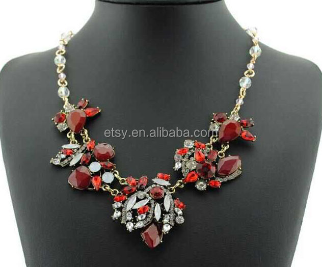 Wholesale Red Rhinestone Statement necklace Have stock