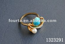 Ladies turquoise fancy style 18k gold ring