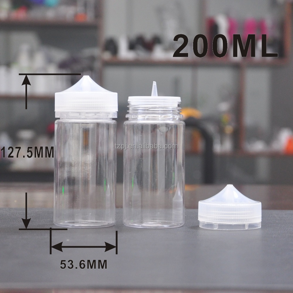 new product large volume 200ml clear PET eliquid bottles with transparent covers