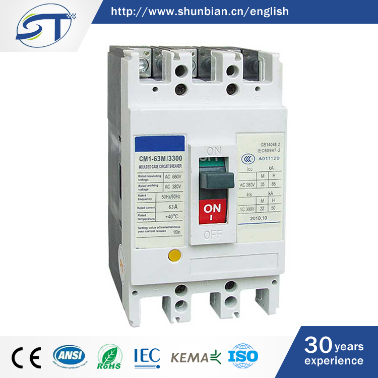 SHUNTE China Good Products 3P 4P 63A 500V 50KA MCCB Electric Circuit Breaker