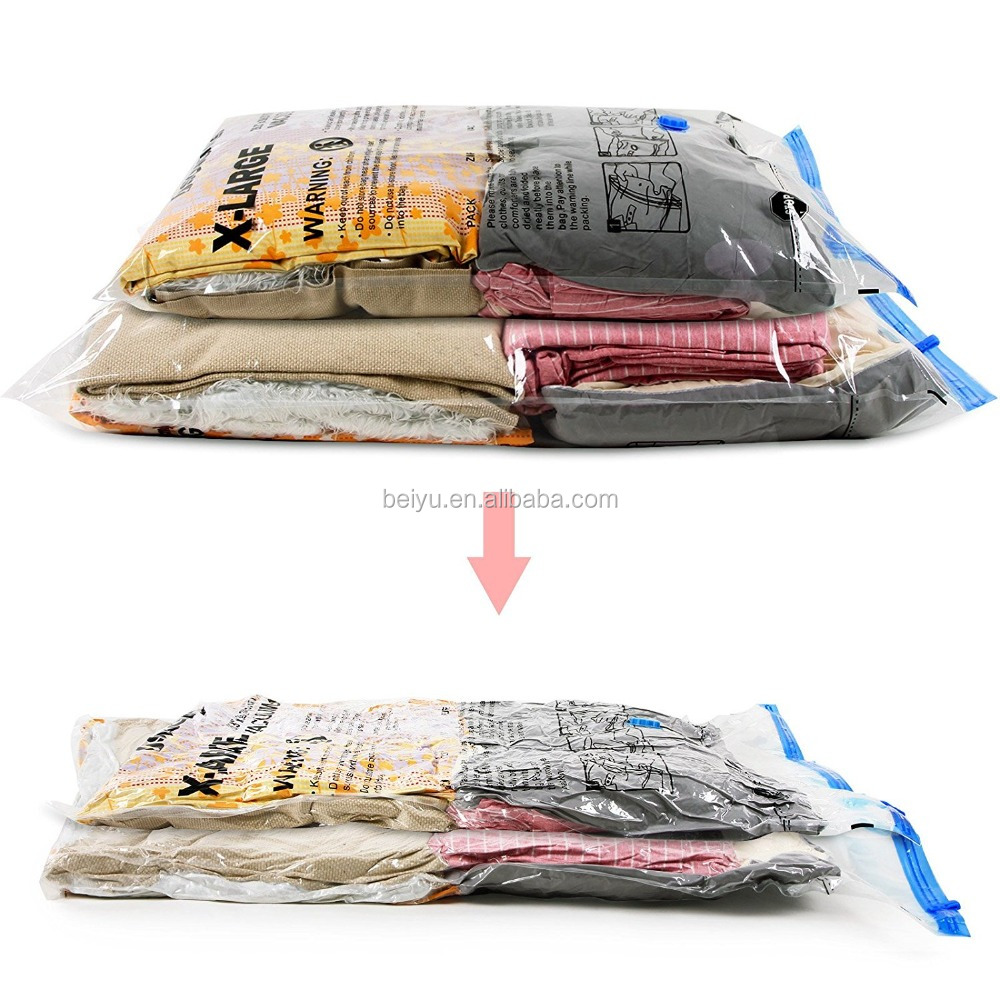 Plastic Material PET+PE Vacuum Seal Clothes Storage Bags For Bedding Saving 75% More Space