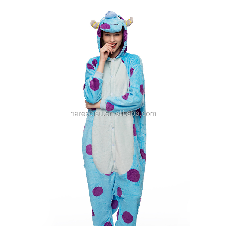 blue cow onesie flannel pajamas