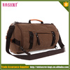 Canvas small travel bag for men waxed canvas duffle bag with leather trim