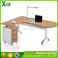 Hot selling L-shape wooden simple style executive office desk with locking drawers
