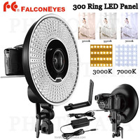 FalconEyes DVR-300DVC Dual Color 300 LED Ring Light 3000K-7000K Adjustable Photography Led Video Ring Light with Camera Bracket