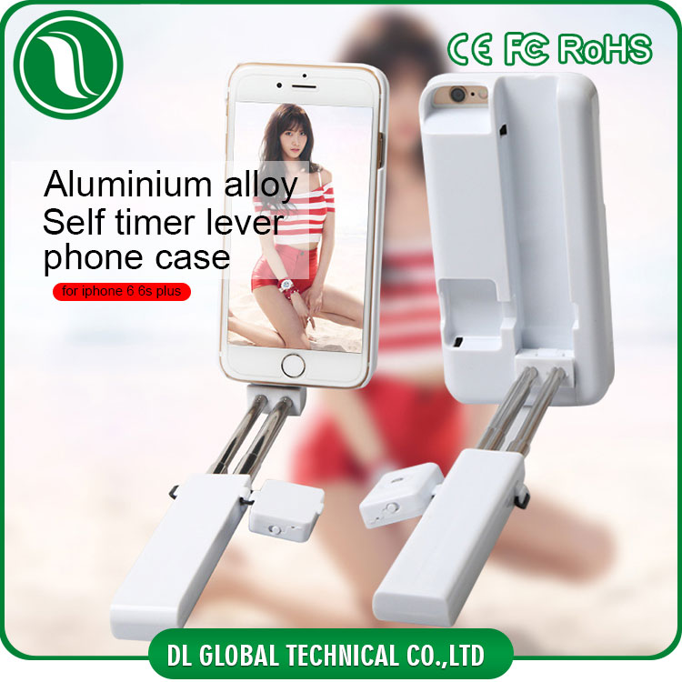 Mobile phone parts Aluminum alloy collapsible selfie stick phone case for iphone 6 bluetooth built-in travel cover