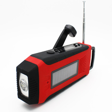 Solar hand crank motorcycle am/fm radio