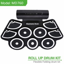 Roll-Up Drum Kit with Built-in Speaker Foot Pedals, Drumsticks, and Power Supply Foldable Portable Electronic Drum Set