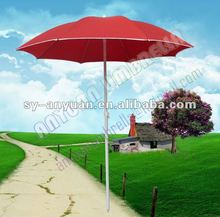 foldable bright red colored outdoor solar umbrella for beach sand