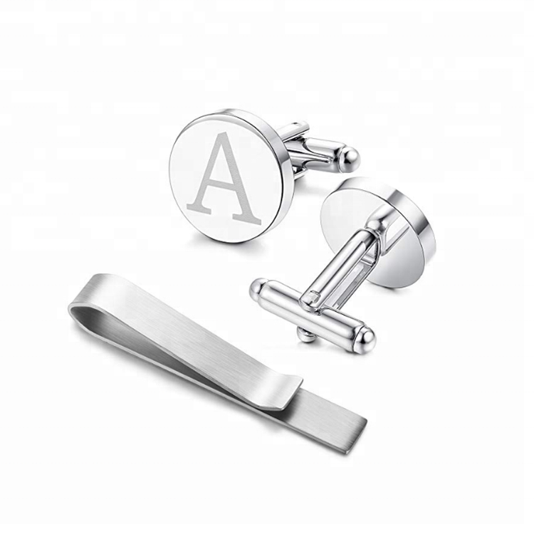 Wholesale products  initial stainless steel cufflink and tie clip