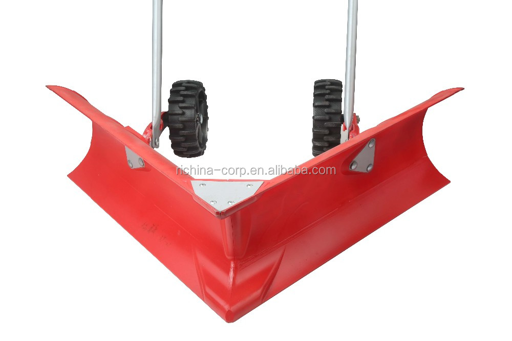 Right-angle Head with Two Wheels Rolling Wheeled Snow Pusher