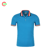 Polyester Mesh fabric Anti Pilling Rib Collar Short Sleeves Blue Polo Shirt