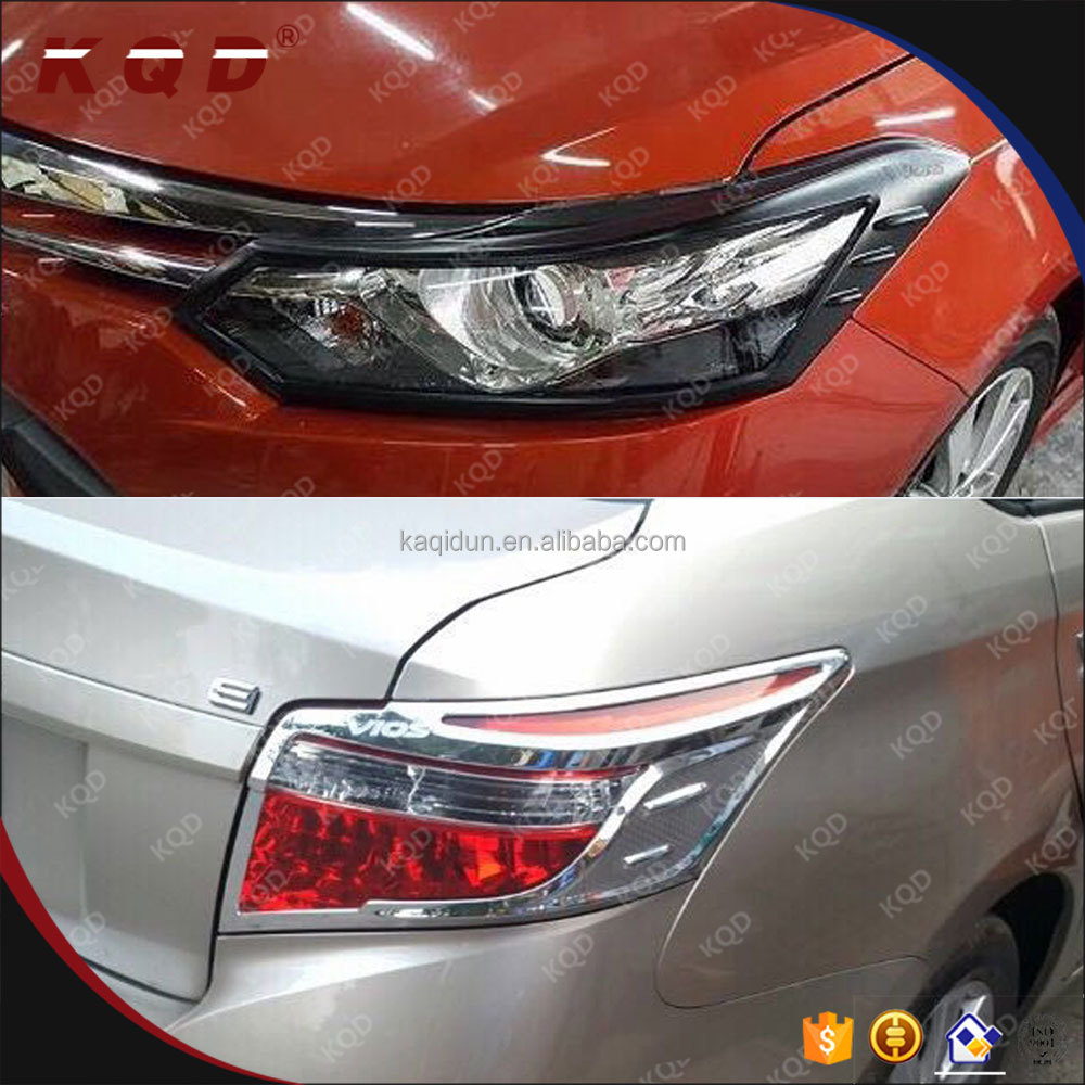 Auto exterior accessories chrome or black head/tail light cover for vios 2014~on accessories