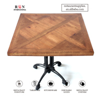 Vintage Solid Wood Dining Table Custom Pattern Table Top For Restaurant