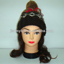 Jacquard 100% acrylic animal cuffed knitted beanie hat with pompom