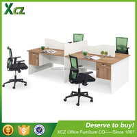 Side panel wood 4 people modern office furniture desk office workstation with hanging cabinet