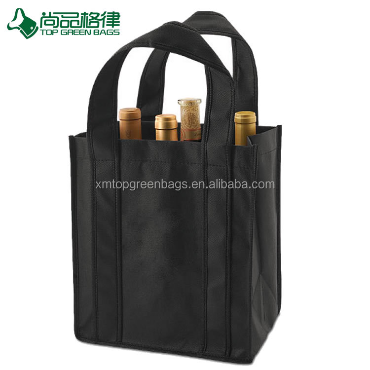 Folding wholesale 6 bottles non-woven wine bag 6 bottle non woven tote