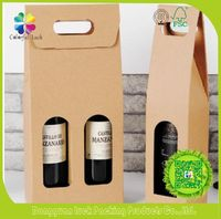 Gift & Party used Corrugated paper material Wine Bottle Carrier Boxes With Window & Custom logo