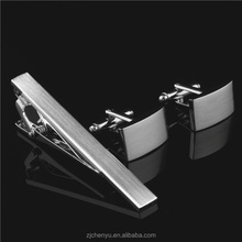 mens fashion rectangle brushed cufflinks & tie pin set