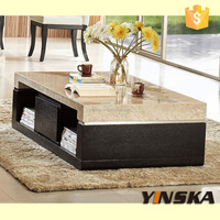 Small rectangle ebony veneer white marble top coffee table