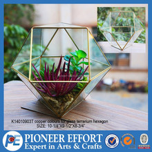 Tiffany stained glass plant terrarium hexagon for indoor home decor