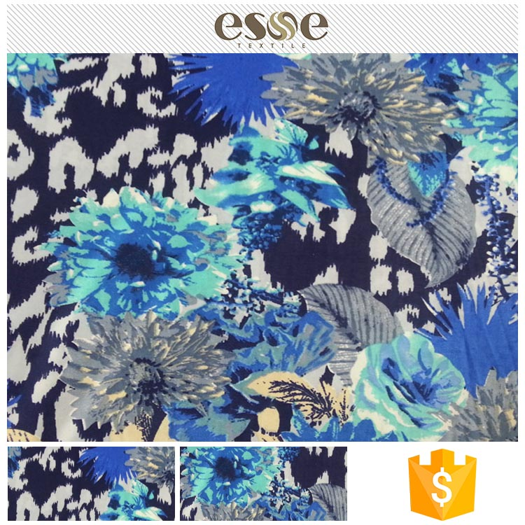 Factory price Latest design hot stamping gold foil printed fdy fabric for dress