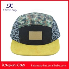 wholeale cotton customizing yellow blank brim camo printing crown snapback caps with leather closure