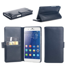 luxury lychee grain pu leather card wallet cover stand holster for huawei honor 6 plus