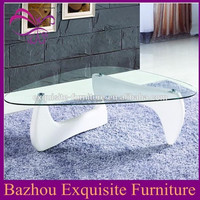 Triangle glass top white high gloss wooden coffee table