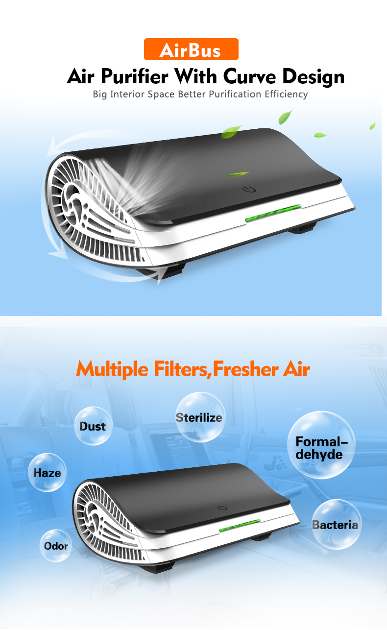 2019 Wearable12v Car Air Purifier Car Ozone Generator  Hepa filter Latest Products