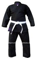 Easy Mobility Durable 100% Cotton Belt Included Plain Black Martial Arts Canvas Karate Uniforms