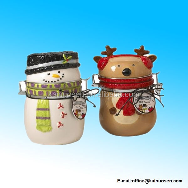 Snowman or Penguin Ceramic Canister for charistmas