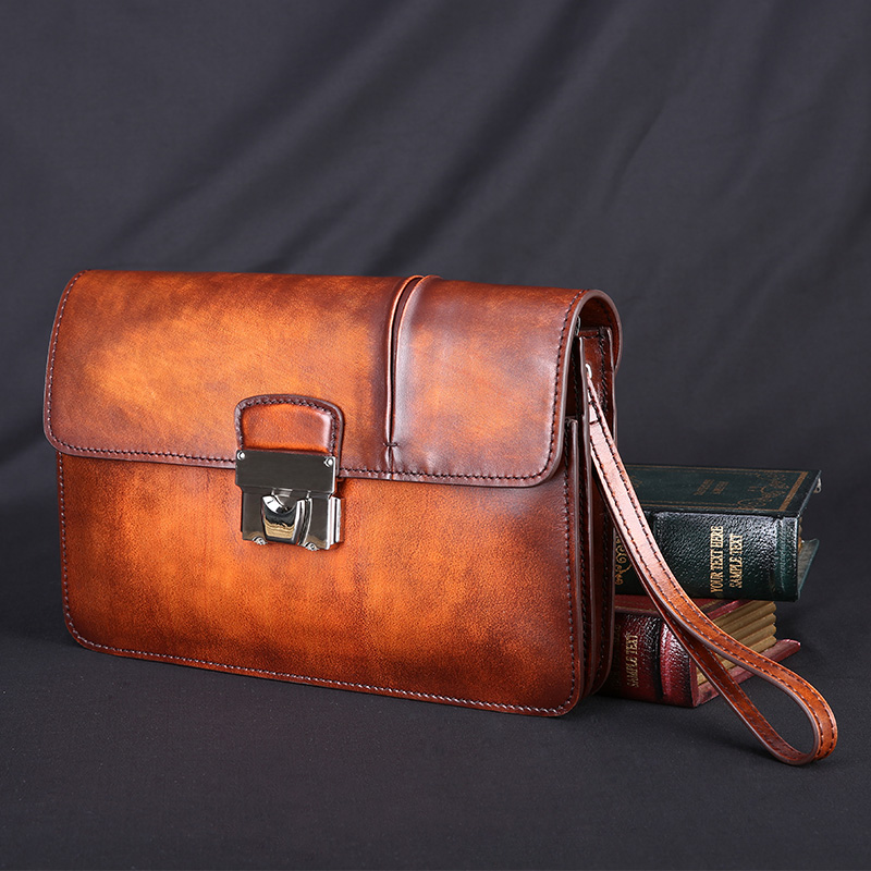 TERSE--vintage crazy horse leather clutches bags for business men wallet handmade custom service OEM/ODM wholesale price