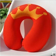 customized plush car neck pillow/sublimation print U shape travel pillow filling with polystyrene beads