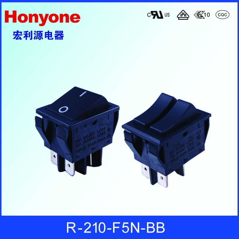 R-210-F5N-BB Illuminated 16A Rocker Switch 250V With Dot