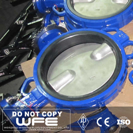 WFE API 304 Industrial Type handwheel concentric butterfly valve wafer