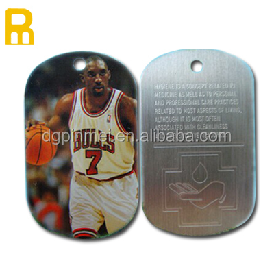 Metal aluminum printed nameplate with epoxy metal dog tag