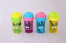 Cute plastic candy bottle cartoon cup with ice cream lid