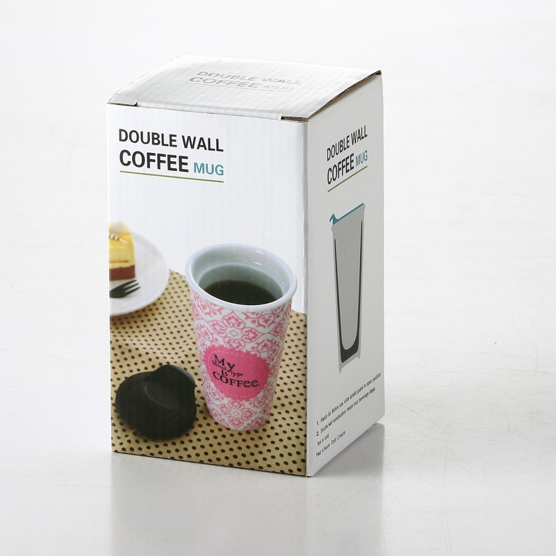 low moq double wall ceramic cup tea infusion mug with lid