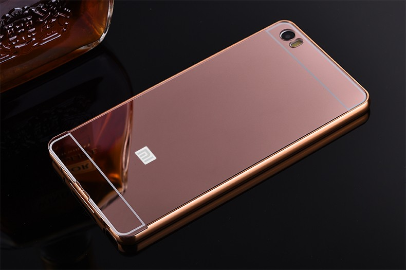 Rose Gold Aluminum Metal Bumper Phone Case For Xiaomi Note with Mirror Cover